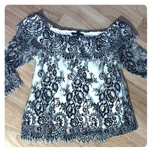 WHBM Off the shoulder lace blouse, size medium